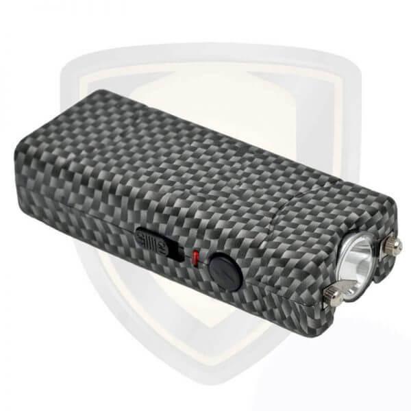 mini stun gun with flashlight carbon fiber