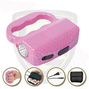 Knuckle Stun Gun Pink Carbon Fiber For Sale
