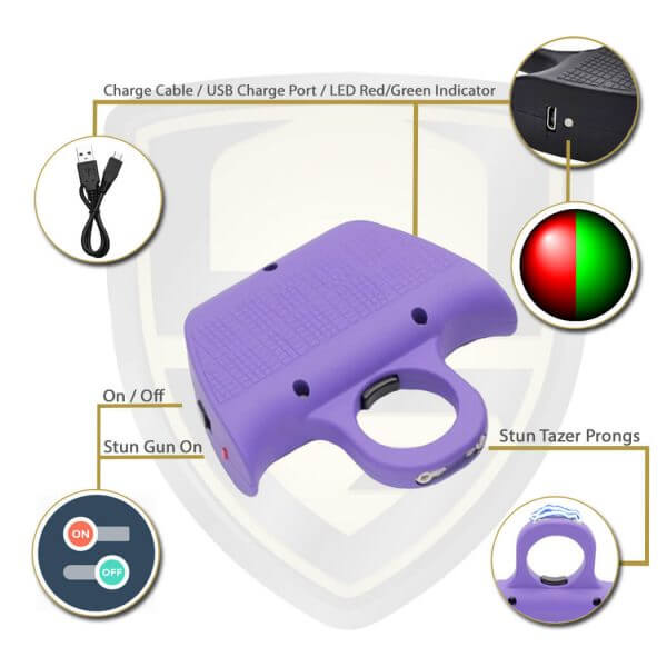 Purple Knuckle Stun Gun Ring Features And Benefits