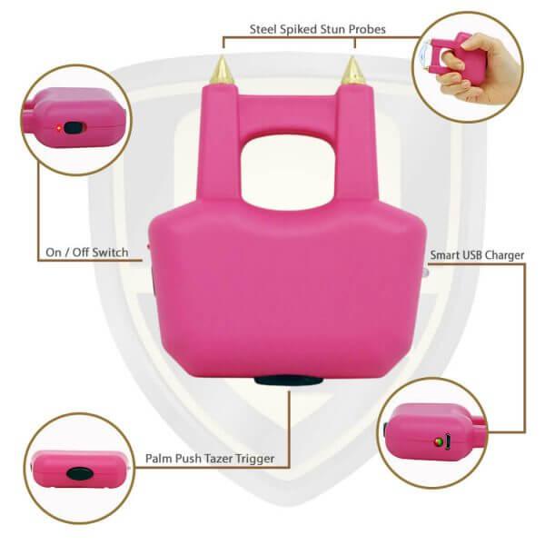 pink brass knuckles with taser