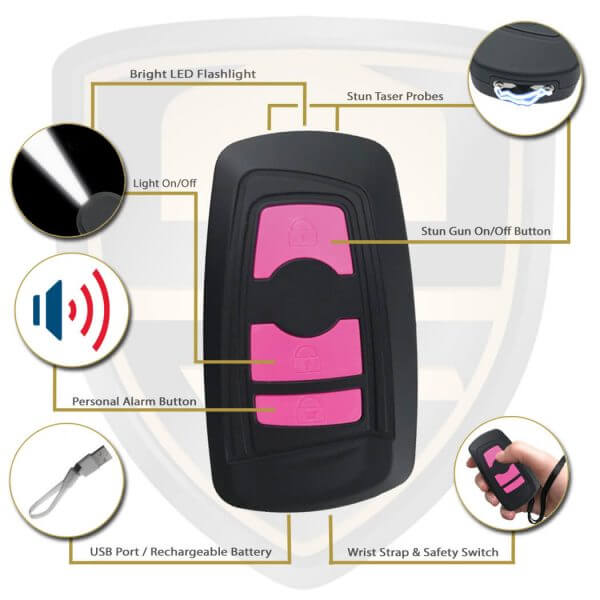 compact pink stun gun features and benefits