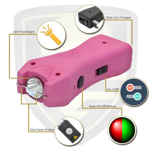 pink taser mini stun gun features