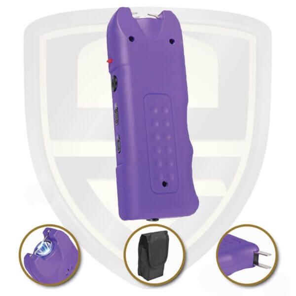 purple stun gun with alarm flashlight