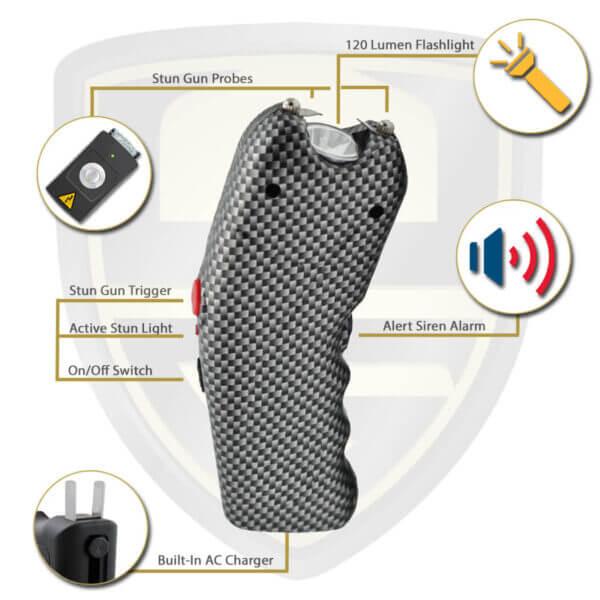 carbon fiber stun gun with alarm and flashlight