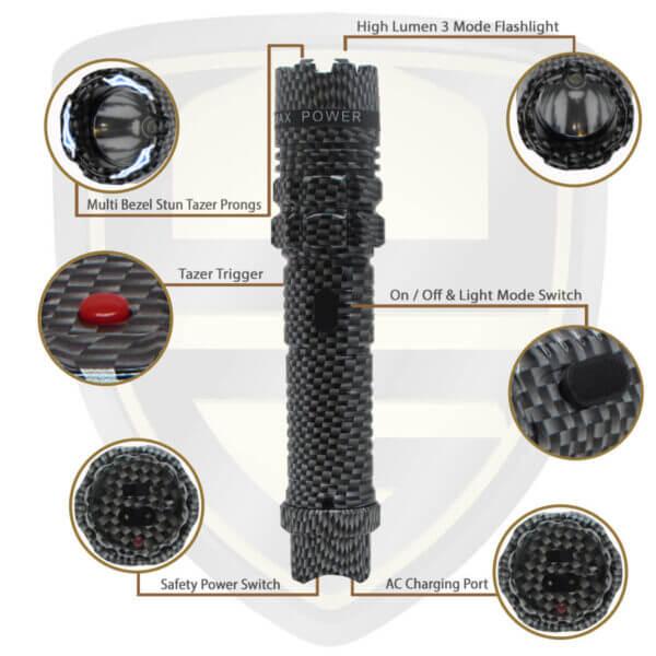 flashlight with stun gun carbon fiber