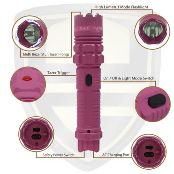 flashlight with stun gun pink